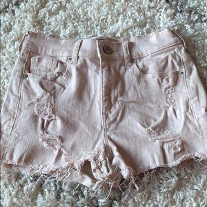 Soft pink jean shorts
